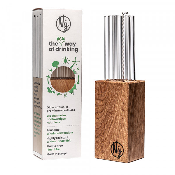 Ny Straw - Trinkhalme aus Glas mit hochwertigen Holzblock